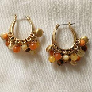 Liz Claiborne Beaded Hoop Earrings Gold Tone Pierc